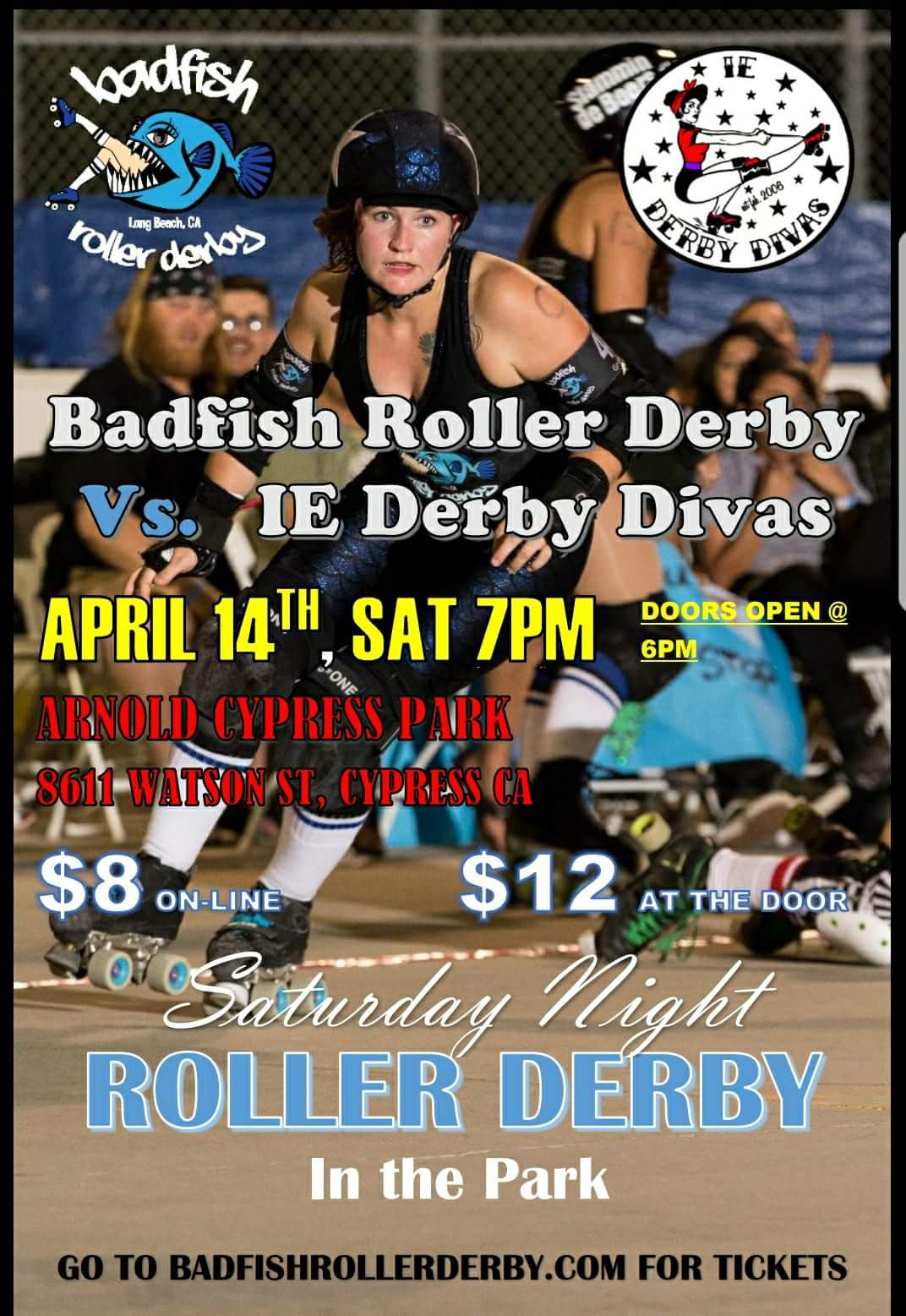 April 14, 2018 Badfish Roller Derby vs. IE Derby Divas