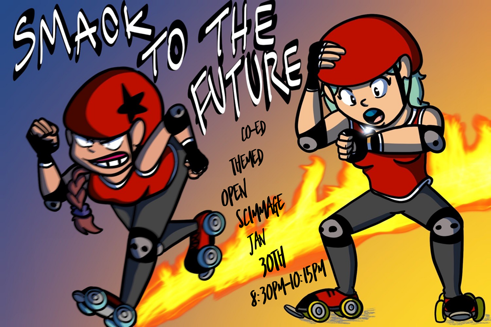 IE Derby Divas January 2019 Scrimmage Artwork: Smack to the Future